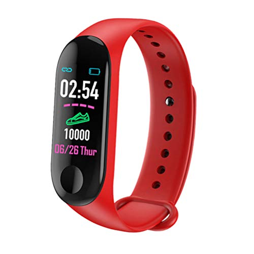 Mcree Smart Band Watch Bracelet Wristband Fitness Tracker Blood Pressure HeartRate M3(Red)