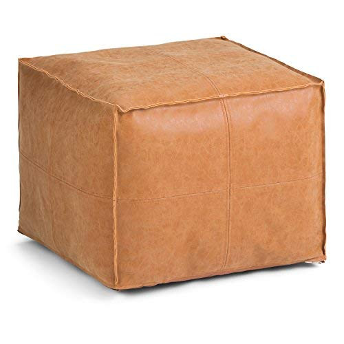 Simpli Home Brody Transitional Square Pouf in Distressed Brown Faux Leather, Fully Assembled by Simpli Home