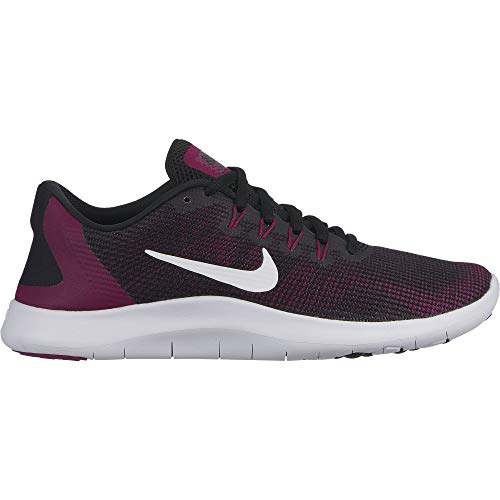 Nike Women's Flex RN 2018 Running Shoe (9 M US, Black/White/True Berry/Burgundy Ash) (Nike Women Running Shoes Purple)