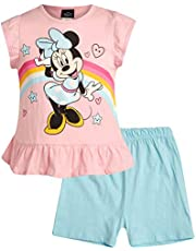 Disney Girls' 2-Piece Knit Short Set with Minnie Mouse and Winnie The Pooh