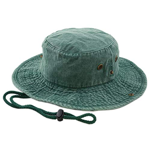 THE HAT DEPOT 100% Cotton Stone-Washed Safari Wide Brim Foldable Double-Sided Outdoor Boonie Bucket Hat (S/M, Pigment - Green)