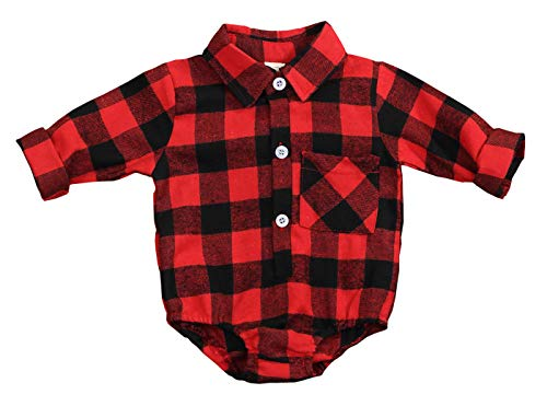 Newborn Baby Boys Girls Christmas Plaid Cardigan Romper Christmas Outfit Moose Embroidery (Red, 3-6 Months)