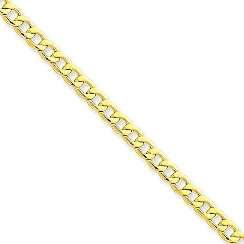 """14 carats 11 mm Semi-solide Bracelet chaîne à maillons gourmette 7 """"Motif JewelryWeb"""