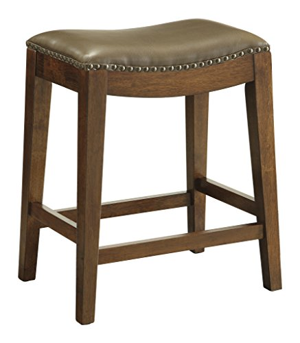 OSP Designs Metro Bonded Leather Counter-Height Saddle Stool with Nail Head Accents and Espresso Finished Legs, 24-Inch, Molasses -