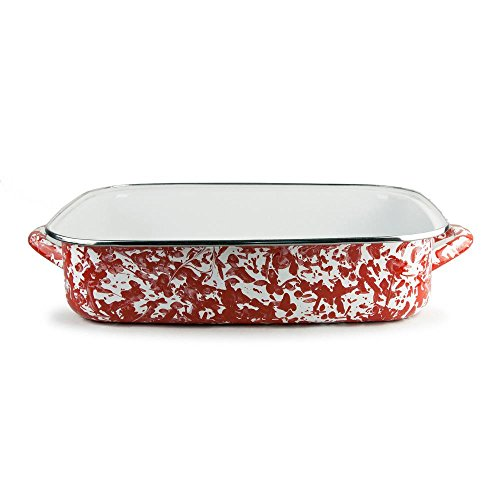 Golden Rabbit Enamelware Red Swirl Lasagna Pan with Swirl Glass Lid 10-1/2 Qt by Golden Rabbit