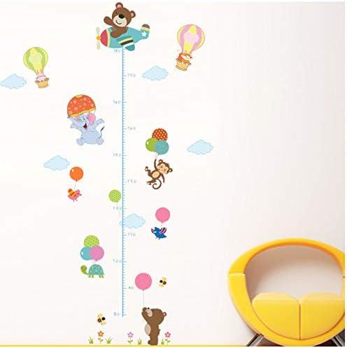 GKAWHH Animales Oso Mono Pila Altura Medida Etiqueta De La Pared Tatuajes De Niños Autoadhesivo Wallpaper Mural Baby Girl Boy Room Nursery Decor