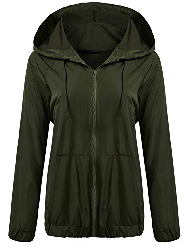 Meaneor Women's Lightweight Waterproof Raincoat Hooded Outdoor Activewear Rain Jacket (13 Colors Available) Style 3 Army Green