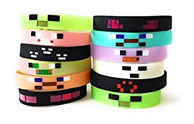 GLOW IN THE DARK MINING PIXELATED Silicone Wristbands Kids Birthday Party Supplies Favors Video Game (12 pack)