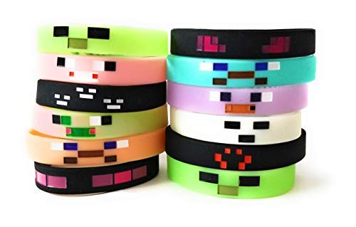 GLOW IN THE DARK MINING PIXELATED Silicone Wristbands Kids Birthday Party Supplies Favors Video Game 12 pack
