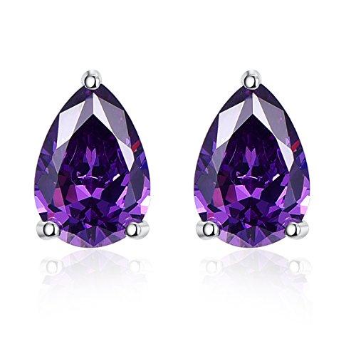 BONLAVIE Womens 925 Sterling Silver 6.4ct Pear Cut Created Purple Amethyst Birthstone Stud Earrings