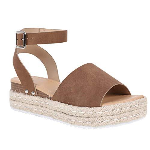 Ermonn Womens Peep Toe Platform Wedge Sandals Espadrille Ankle Strap Mid Heel Braided Sandals