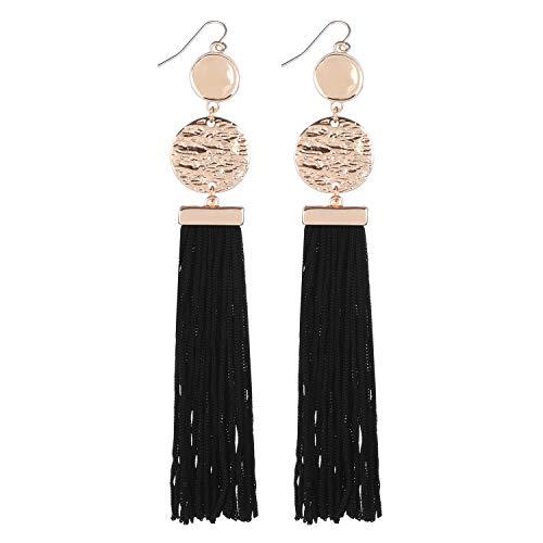 D EXCEED Women's Long Tassel Dangle Earrings Fashion Color Block Gold Design Dangle Drop Earrings Black