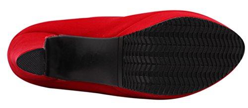 Jaro Vega Femmes Plate-forme Chunky Talon Amande Orteils Pleuche Pompes Chaussures Rouge