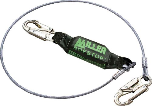 (Miller by Honeywell 907NLS/11FT6INYL 11.6-Feet Vinyl-Coated Wire Rope Lanyard with SofStop Shock Absorber and Two Locking Snap Hooks, Yellow)