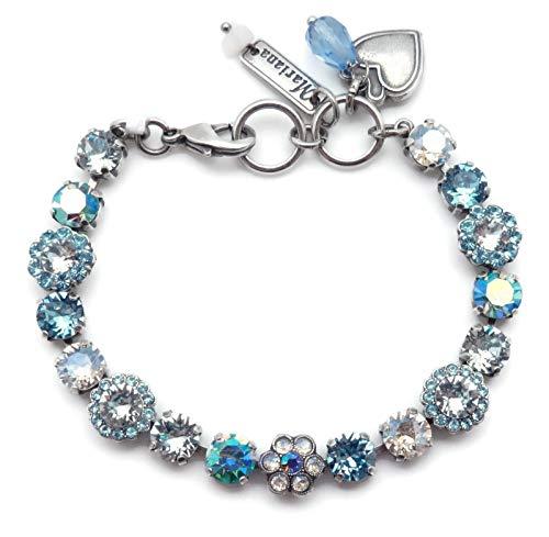 Mariana Italian Ice Swarovski Crystal Silvertone Bracelet Light Blue & Clear Flower Mosaic 141 (Ice Flower Swarovski)