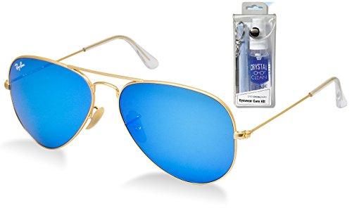 Ray Ban RB3025 112/17 58mm Blue Mirror Aviator Sunglasses Bundle - 2 - Rb3025 58 17 112