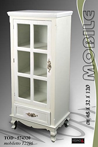 Vetrina Vetrinetta 48x32x120 Cm Design Mobile Shabby Chic: Amazon.it ...
