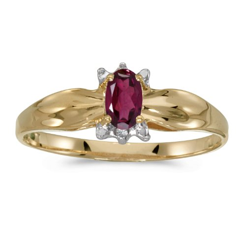 0.24 Carat ctw 14k Gold Oval Red Rhodolite Garnet Solitaire & Diamond Engagement Fashion Ring Polished Finish - Yellow-gold, Size 7 14k Yellow Gold Rhodolite Ring