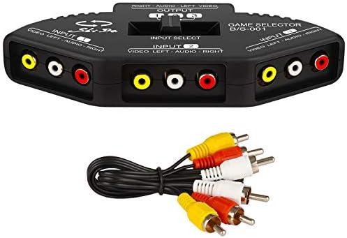 3入力と1出力のRCAスプリッター オーディオとビデオRCAスイッチボックス 3RCA信号デバイスを1つのモニターに接続するためのケーブル付き