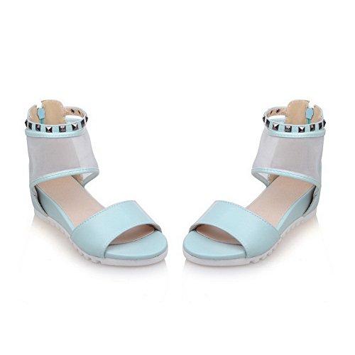 Odomolor Mujeres Cremallera Puntera Abierta Mini Tacón Sólido Sandalia Azul