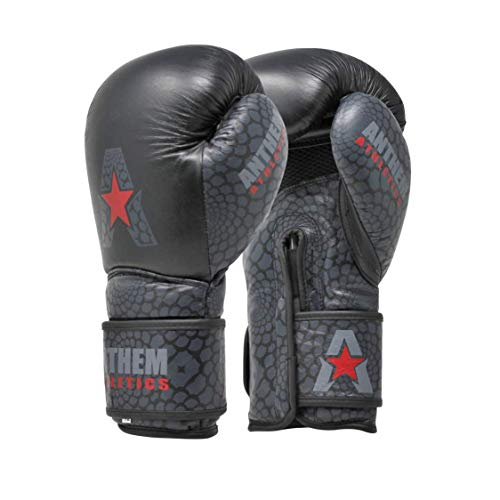 Anthem Athletics STORMBRINGER II Leather Boxing Gloves - Muay Thai, Kickboxing, Striking - Viper: Gunmetal Black - 16 oz. ()