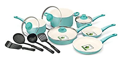 Food Network Cookware Set Premium Nonstick Ceramic Coating 14 Piece, Turquoise, Glass Lid
