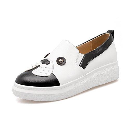 AgooLar Damen Niedriger Absatz Eingelegt Ziehen auf Weiches Material Rund Zehe Pumps Schuhe Weiß