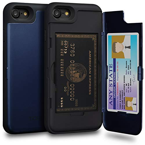 - TORU CX PRO iPhone 8 Wallet Case Blue with Hidden Credit Card Holder ID Slot Hard Cover & Mirror for iPhone 8 / iPhone 7 - Navy Blue