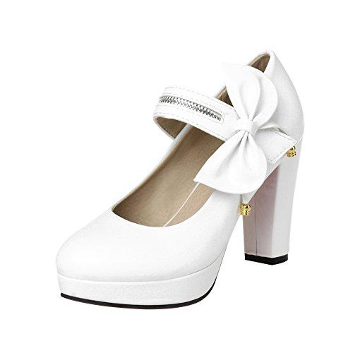 Charm Foot Mujeres Bows Plataforma De Tacón Alto Mary Jane Pumps Zapatos Blanco