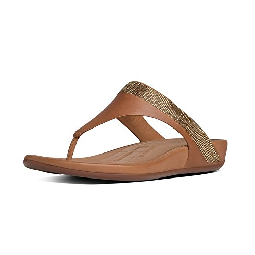 FitFlop Women's Banda Micro Crystal Toe Post Flip Flop, Tan,