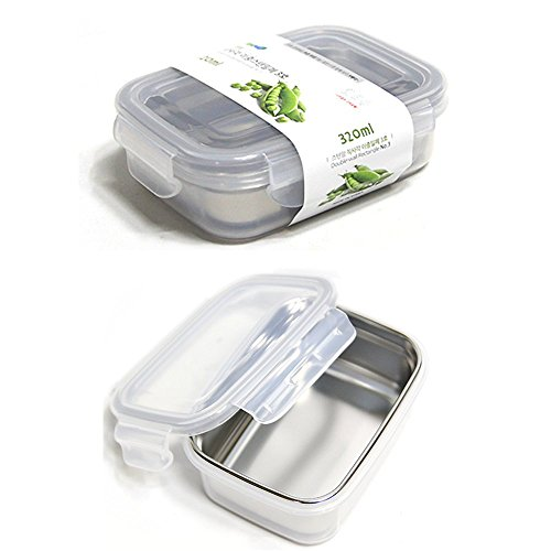 Stenmom Stainless Steel Food Storage Containers Rectangle Double-Wall Structure Fresh Keeper Lunch Box Stackable Airtight BPA Free 320㎖/11oz Rectangle Lunch Box