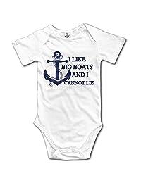 Unisex Baby I Like Big Boats And I Cannot Lie Printed Short-Sleeve Bodysuits