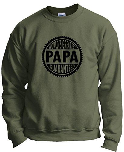 Greatest Sweatshirt (World's Greatest Papa Guaranteed Crewneck Sweatshirt Large MlGrn)