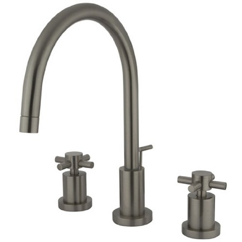 Kingston Brass KS8928DX Concord Widespread Lavatory Faucet with Brass Pop-Up with Metal Cross Handle, Brushed ()