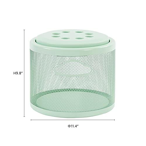 ONENOE Modern Metal Golf Ball Basket with Lid, Golf Ball Bucket, Green, 1 Pack