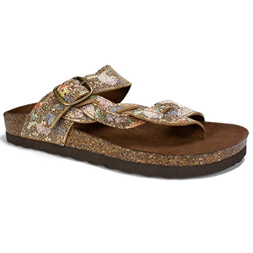 WHITE MOUNTAIN Shoes Crawford Women's Sandal, Brown/Garden/Multi/Suede, 8 M