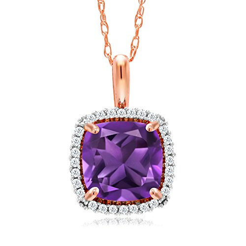 Gem Stone King 10K Rose Gold 1.60 Ct Cushion Purple Amethyst and Diamond Pendant with 18inches Chain