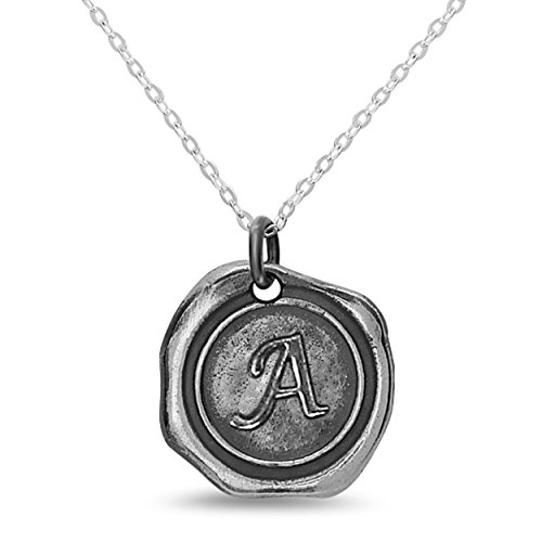 Sterling Silver Personalized Wax Seal Initial Custom Necklace Charm Pendant - Letter A