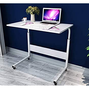 SSLine Side Table Mobile Laptop Computer Desk for Bed Sofa, Portable Breakfast TV Tray Height Adjustable Coffee End Table U-Shaped Overbed Table with Wheels ...