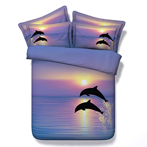 (Colorful Ocean and Dolphins Under Sunshine Duvet Cover Bedding Sets 3pcs Kids Natural Bed Linen with 1 Quilt Cover 2 Shams (JF034, Full))
