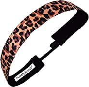 Sweaty Bands Womens Girls Headband - Non-Slip Velvet-Lined Athletic Hairband - Get Wild Leopard Print Brown 1-