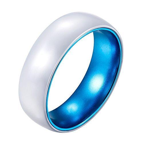 POYA 8mm White Ceramic Ring with Anodized Blue Aluminum Sleeve Wedding Bands (10.5)