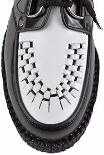 STEELGROUND Schuhe, schwarz-weißes Leder, niedrige Sohle, D-Ring