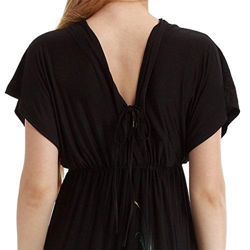Women Asymmetric Dolman Sleeve Kimono Bodycon Club Dress Plus Size Boobtube Mini Dress Size 3XL,Black with Feather,16/18 Plus