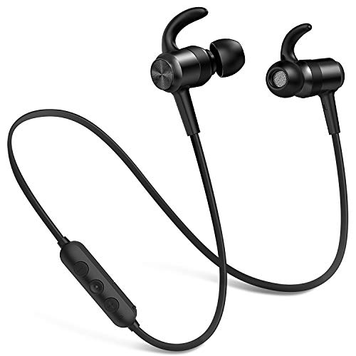 Picun Bluetooth Headphones 10 Hrs Battery, HiFi Stereo Wireless Sports Earphones with Noise Reduction Mic, IPX6 Waterproof Nano-Coating Magnetic Earbuds Secure Fit for Running Gym Workout (Black)