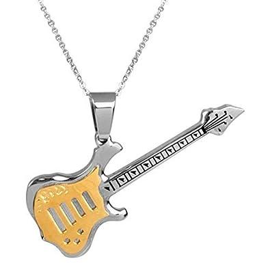 Collar para hombre, diseño de guitarra eléctrica, con cadena colgante de acero inoxidable, color dorado y plateado.: Amazon.es: Joyería