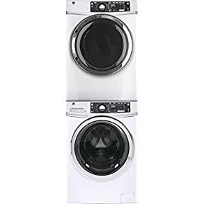 GE White Front Load Laundry Pair with GFW480SSKWW 28' Washer, GFD48ESSKWW Electric Dryer and GEFLSTACK Stacking Kit