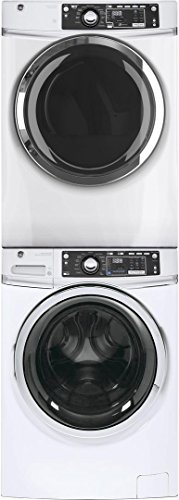 "GE White Front Load Laundry Pair with GFW480SSKWW 28"" Was..."