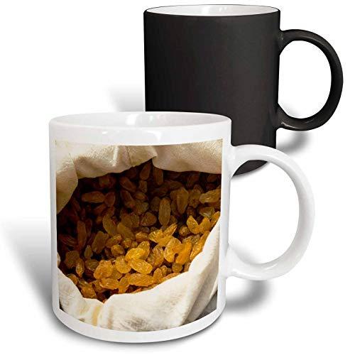 - 3dRose Alexis Photography - Food Grape - Dry grapes or raisins of brown color in a white sack. Yummy food - 11oz Magic Transforming Mug (mug_287116_3)