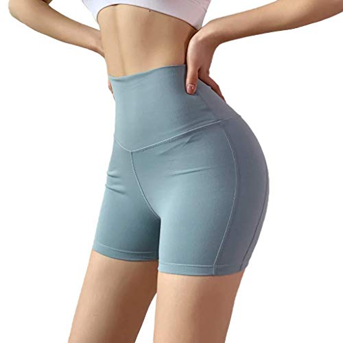HEJANG Women's Yoga Workout Stitching Breathable Slim Hip-Tightening Fitness Leggings Running Pants Shorts 2019 (S, Blue)